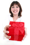 Woman in White with Red Gift Box Stock Photography