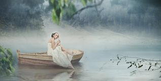 Woman in white and the romantic place Royalty Free Stock Image