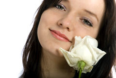 Woman with white rose Stock Images