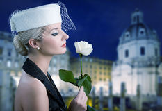 Woman with white rose Stock Photos