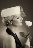 Woman with white rose Royalty Free Stock Photography