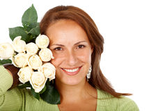 Woman with white roses Royalty Free Stock Images
