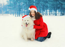 Woman with white Samoyed dog wearing a santa red hats in winter Royalty Free Stock Photos