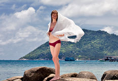 Woman with white sarong Royalty Free Stock Photography