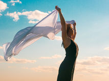 Woman with white scarf Royalty Free Stock Image