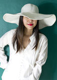 Woman in white shirt Stock Photography