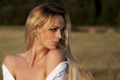 Woman in White Shirt Stock Image