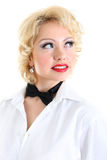 Woman in white shirt and black bow-tie Stock Images