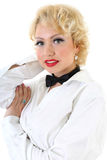 Woman in white shirt and black bow-tie Stock Photos