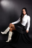 Woman in white shirt and boots Royalty Free Stock Photos