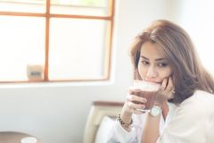 Woman with hot chocolate royalty free stock photo