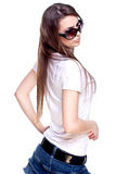 Woman in a white shirt with the glasses Stock Photography
