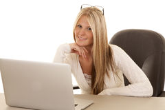 Woman white shirt laptop glasses on head Stock Images