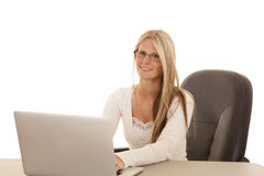 Woman white shirt laptop sit smile Royalty Free Stock Photos