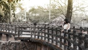 Woman in White Shirt Standing on Black Bridge Royalty Free Stock Photography