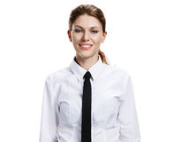 Woman in a white shirt and tie Stock Photos
