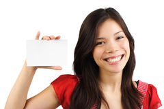 Woman white sign Stock Photos