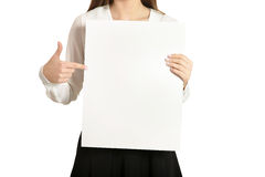 Woman and white signboard Stock Photo