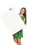 Woman and white signboard Stock Image