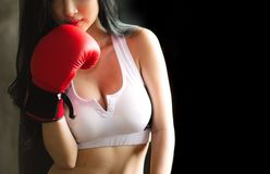 Woman in White Sports Bra and Red Boxing Glove stock photography