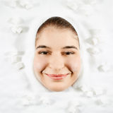 Woman and white sugar Royalty Free Stock Photography