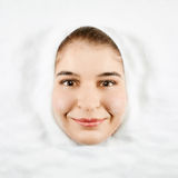 Woman and white sugar. Beautiful woman expression face with white sugar frame stock photos