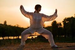 Woman in white suit make's taiji chuan - 3