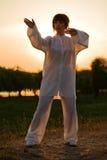 Woman in white suit make's taiji chuan - 6. Woman in white suit make's taiji chuan exercise - chinese marshal art Royalty Free Stock Photo