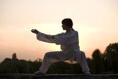 Woman in white suit make's taiji chuan exercise Royalty Free Stock Images