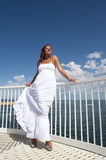 Woman in White Summer Dress on Lookout Royalty Free Stock Photos