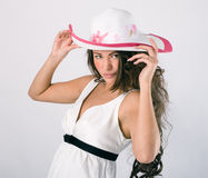 Woman in a white summer hat. Royalty Free Stock Photo