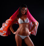 Woman in white swimwear Royalty Free Stock Image