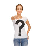 Woman in white t-shirt pointing at you Stock Images