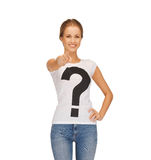 Woman in white t-shirt pointing at you Royalty Free Stock Photo