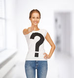 Woman in white t-shirt pointing at you Stock Photo