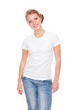 Woman in white t-shirt posing in studio Stock Photography