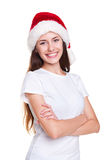 Woman in white t-shirt and santa hat Royalty Free Stock Photo