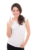 Woman in white t-shirt showing. Young woman in white t-shirt showing rock on gesture isolated on white background Stock Image