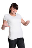 Woman with a white t-shirt Stock Photography