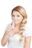 Woman in white T-short  holding glass of water Royalty Free Stock Photography
