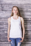 Woman in white tank top Royalty Free Stock Images