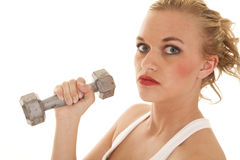 Woman white tank weight up close Stock Photo