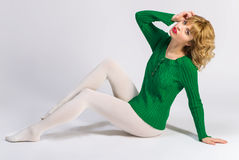 Woman in white tights o Stock Photo