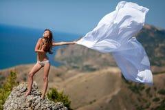 Woman white tissue Stock Photos