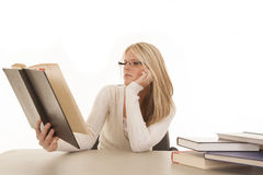 Woman white top books reading Stock Image