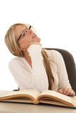 Woman white top books sleeping Royalty Free Stock Image