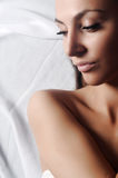 Woman in white towel Stock Photo