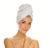 Woman with a white towel Stock Photos