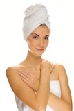 Woman with a white towel Stock Photography