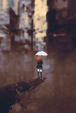 Woman with white umbrella in ruined city royalty free illustration